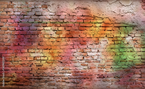 Spoed canvasdoek 2cm dik Graffiti Colorful brick wall