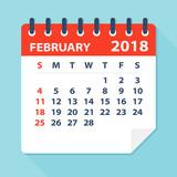 February 2018 Calendar Leaf - Illustration - 160965034