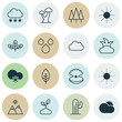 World Icons Set. Collection Of Forest, Sunny Weather, Tree Leaf And Other Elements. Also Includes Symbols Such As Relief, Oak, Cloud.