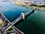 Kettenbrücke Bridge Budapest Ungarn von Oben