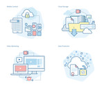 Set of concept line icons for mobile services and solutions, cloud storage, video marketing, data protection. UI/UX kit for web design, applications, mobile interface, infographics and print design.  - 160988863