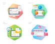 Material design icons set for business, management, marketing, e-commerce and shopping. UI/UX kit for web design, applications, mobile interface, infographics and print design