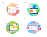 Material design icons set for business, management, marketing, e-commerce and shopping. UI/UX kit for web design, applications, mobile interface, infographics and print design - 160995824