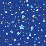 Seamless pattern stars on dark blue background. Illustration of a starry sky for children style.