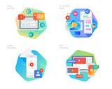 Material design icons set for social media video, cloud recording, VOD streaming, video security, online video streaming. UI/UX kit for web design, applications, mobile interface, print design.  - 160997459