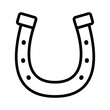 Lucky horseshoe / horse shoe to protect hoof line art vector icon for animal apps and websites