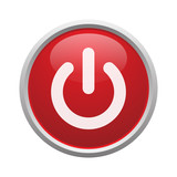 Red power button vector isolated - 161079456