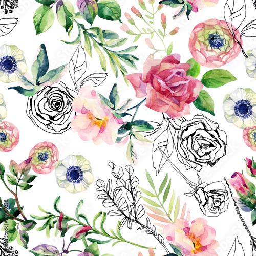Watercolor and ink doodle flowers, leaves, weeds seamless pattern. - 161080238