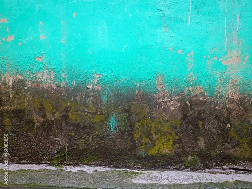 Dirty turquoise wall background in horizontal 4:3 format.