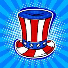Hat in coloring of American flag pop art vector