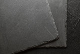 Black stone plate board background or texture