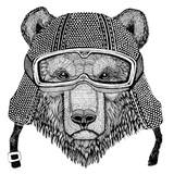 Brown bear Russian bear wearing vintage motorcycle helmet Tattoo, badge, emblem, logo, patch, t-shirt