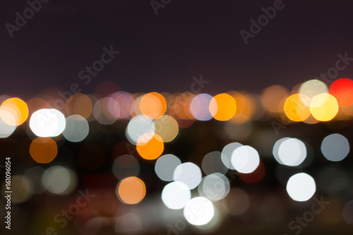 city night with dark sky, abstract blur bokeh light background - 161096054
