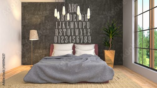 Bedroom interior. 3d illustration - 161096237