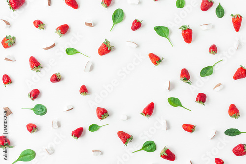 Foto op Aluminium Milkshake Strawberry and coconut on white background. Fruit frame. Summer concept. Flat lay, top view