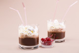 Two glasses of cocoa with whipped cream and marshmallows