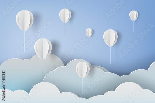 paper art of white ballons on blue sky background,vector