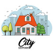 Front view of house with trees and city skyline over white background vector illustration - 161115437