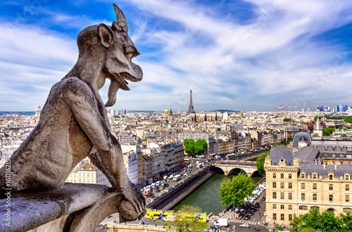 Gargoyle on Notre Dame de Paris on background of skyline of Paris, France.