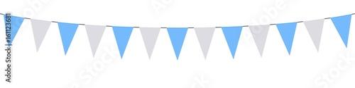 Guirlande, fanions bleus ciel et blancs