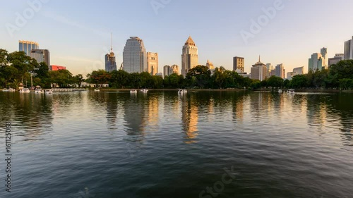Day to night Time lapse of lake view in city