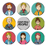 Hand drawn people icon set over white background vector illustration