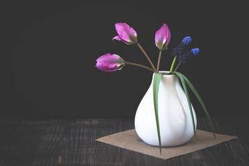 Kleine Tulpen und Traubenhyazinthen