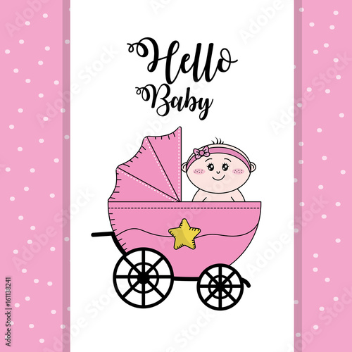 In de dag Retro sign baby shower to welcome a child in the family