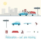 Relocation. Car with trailer and furniture. Sign : We're moving. - 161139421