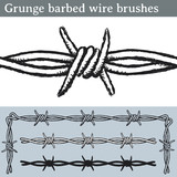 Grunge barbed wire brushes. Brushes for Illustrator to draw barbed wire with a grunge look. Three different versions: unfilled, with white fill and in silhouette. - 161151620