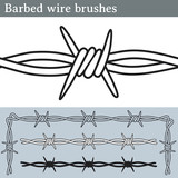 Barbed wire brushes. Brushes for Illustrator to draw barbed wire. Three different versions: unfilled, with white fill and in silhouette. - 161152031