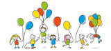 Fototapety Strichfiguren Kinder Luftballons Party