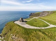 World famous birds eye aerial drone view of the Cliffs of Moher in County Clare, Ireland. Beautiful Irish Countryside Landscape on the Wild Atlantic Way route. - 161159823