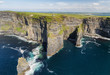 World famous birds eye aerial drone view of the Cliffs of Moher in County Clare, Ireland. Beautiful Irish Countryside Landscape on the Wild Atlantic Way route. - 161159869