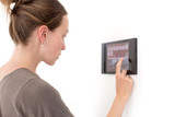 Woman using tablet in wall Smart House - 161160218