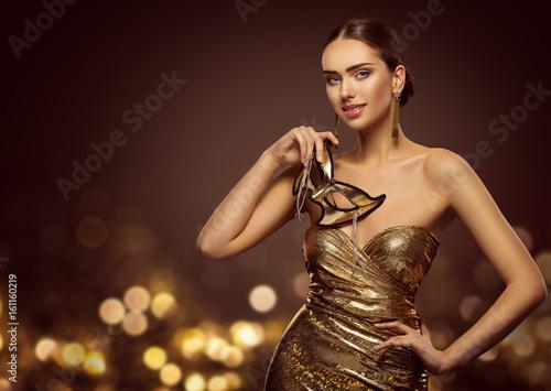 Aluminium Kapsalon Woman Mask, Fashion Model Face with Golden Carnival Mask, Beauty Gold Dress