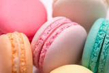 Closeup of colorful pastel macaroons. Sweet macarons.