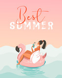 Hand drawn vector abstract fun summer time illustration card with girl swimming on pink flamingo float circle in blue ocean waves with modern calligraphy Best Summer - 161165828
