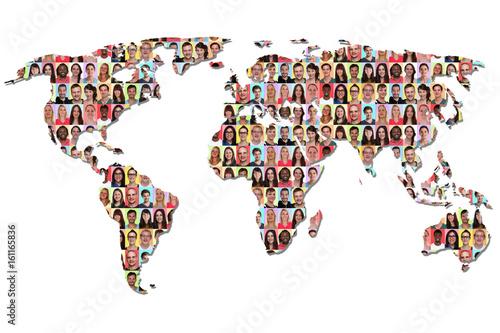 Welt Erde Weltkarte Karte Menschen Leute Gruppe Integration bunt multikulturell Poster