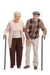 Full length portrait of an elderly couple with canes