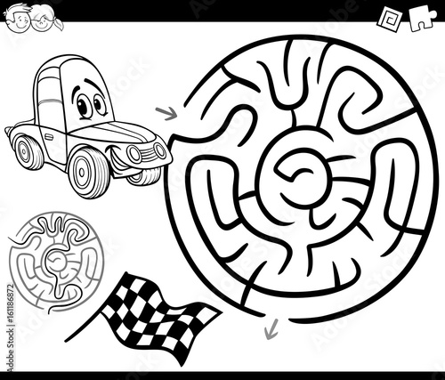 maze with car coloring page
