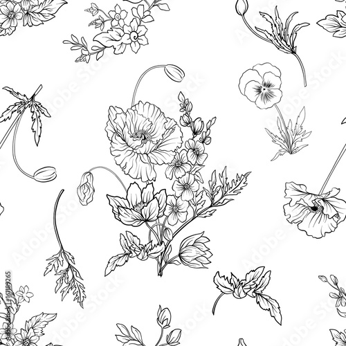 Seamless pattern with poppy flowers daffodil, anemone, violet in - 161189265