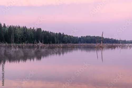 Deurstickers Lichtroze lake sunrise pink clouds sky fog