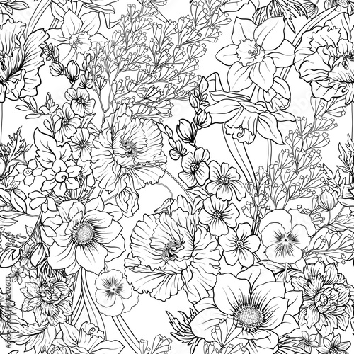 Seamless pattern with poppy flowers daffodil, anemone, violet in - 161202683