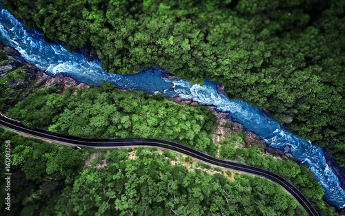 Aerial view of Mountain river and road. Mountain gorge. gorge of the White river. Caucasus, Russia