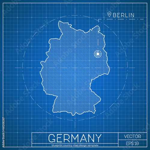 Germany blueprint map template with capital city berlin marked on germany blueprint map template with capital city berlin marked on blueprint german map vector malvernweather Images