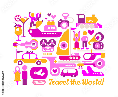 Travel the World vector poster design
