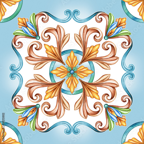 abstract seamless classic pattern, antique mosaic ornament, medieval acanthus background, mosaic ceramic tile, kaleidoscope - 161213802