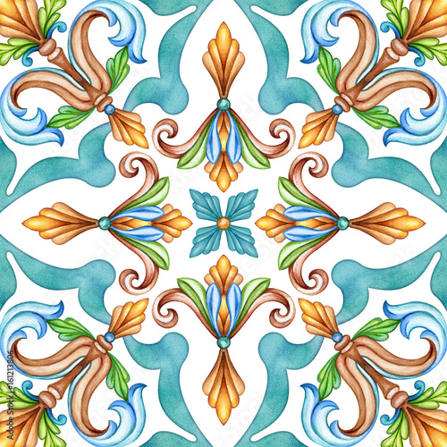 abstract seamless classic pattern, antique mosaic ornament, medieval acanthus background, mosaic ceramic tile, kaleidoscope - 161213806