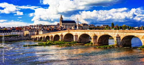 Landmarks and beautiful places of France- medieval Blois town in Loire valley.